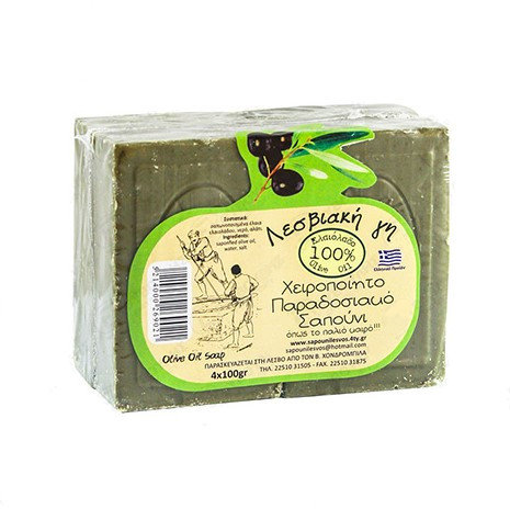 Traditional Green Soap from Lesbos Island 4 x 100g