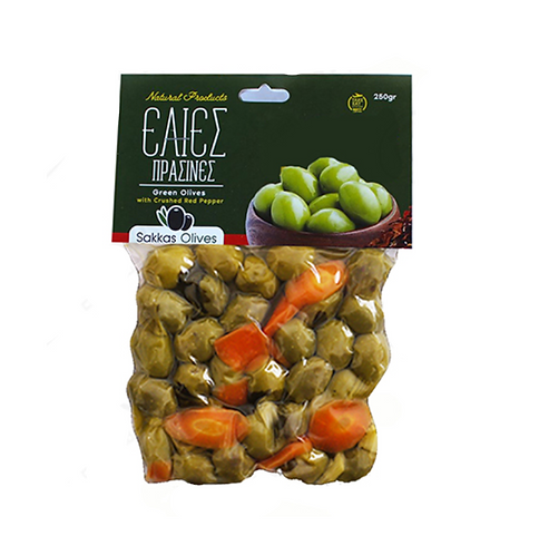 Green Olives Marinated with Celery and Carrot 250g Sakkas