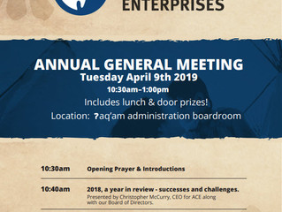 ʔaq̓am AGM - Tuesday April 9, 2019