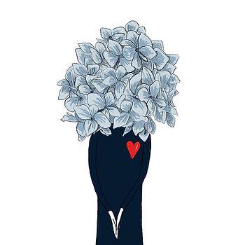 """Clemence de Besombes """"Les Florissantes"""" fleur bleue """"illustration d'humeur"""""""