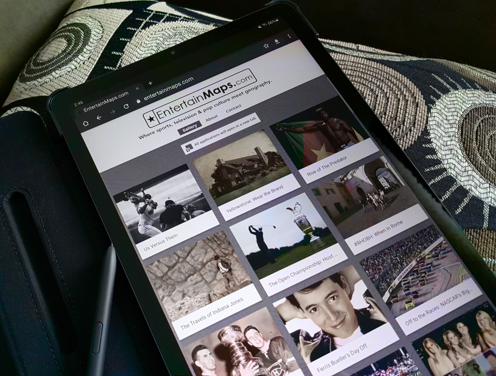EntertainMaps.com website presented on a tablet