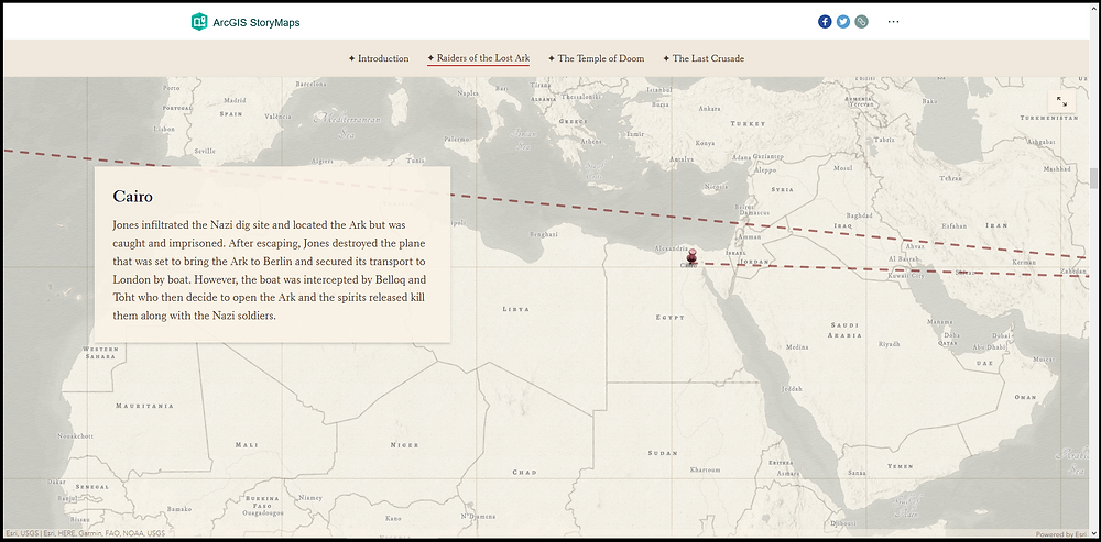 Screenshot of The Travels of Indiana Jones story map