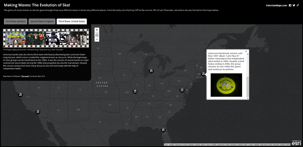 Screenshot of the Making Waves: The Evolution of Ska! story map