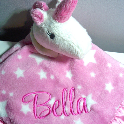 Personalised gifts baby gifts dog gifts christmas gifts personalised baby comforter security blanket blankie unicorn negle Image collections