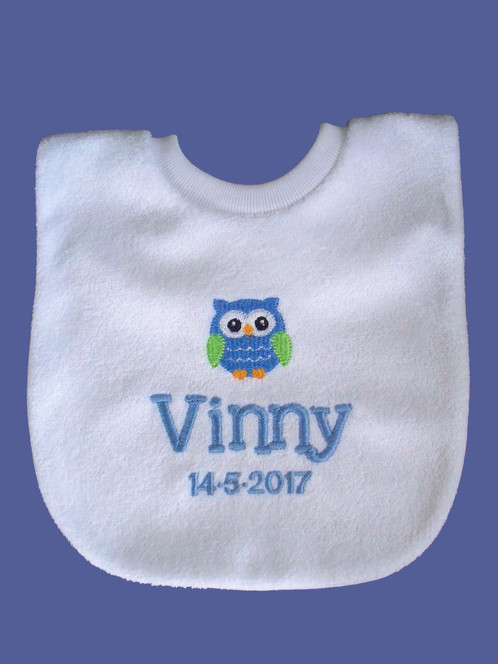 Personalised baby bib owl personalised gifts baby gifts dog perfect gift for new baby and keepsake negle Image collections