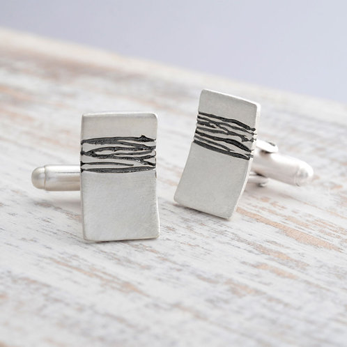 Contemporary, handmade stelring silver mens cufflinks. Created by Kate Smith Jewellery Design, Birmingham, UK