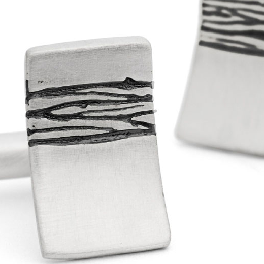 gents modern silver cufflinks with etched detail by Kate Smith Jewellery