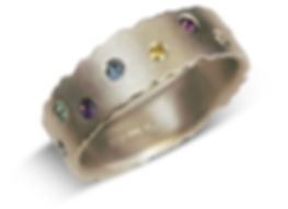 handmade unusual eternity ring in white gold, by contmporary jewellery designe Kate Smith, Birmingam.
