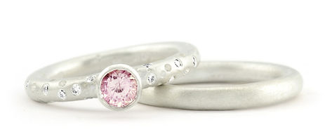 Pink Sapphire & Diamond Solitaire Ring.