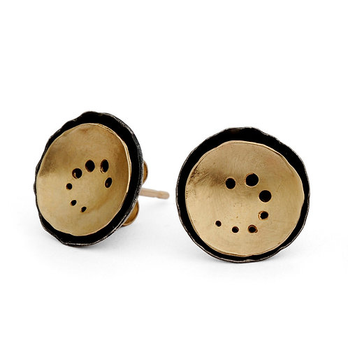 organic round gold and oxidised silver contemporary earrings, handmade by Kate Smith in Birmingham, UK