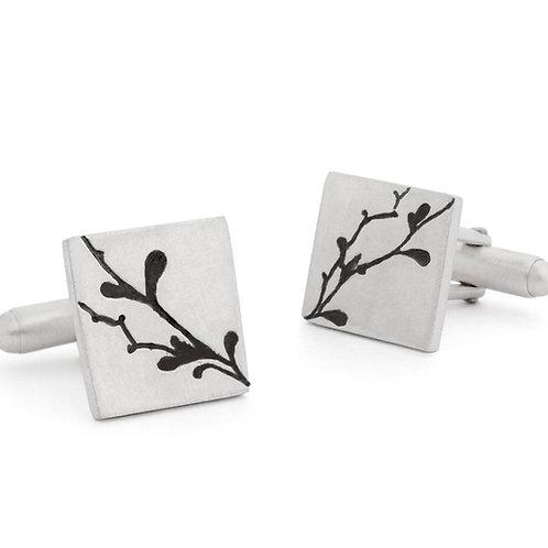 Modern, unusual sterling silver mens cufflinks. Handmade by Kate Smith Jewellery Design, Birmingham, UK