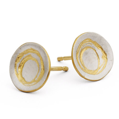 Etched Silver Earrings With Gold Detail by Kate Smith Jewellery. Product code KS62aGP