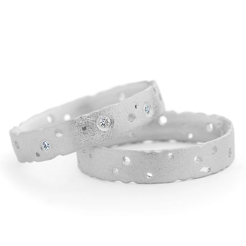 organic silver and diamond eternity ring by contemporary jewellery designer Kate Smith.