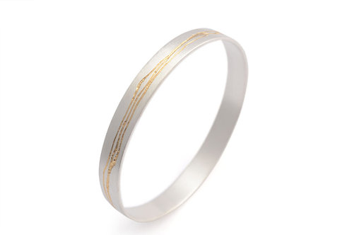 Etched Silver & Gold Bangle by Kate Smith Jewellery.