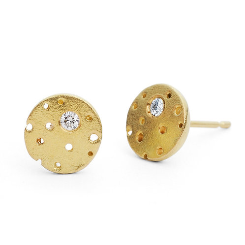 contemporary yellow gold diamond earrings, handcrafted by Kate Smith Jewellery in Birmingham's historic Jewellery Quarter.
