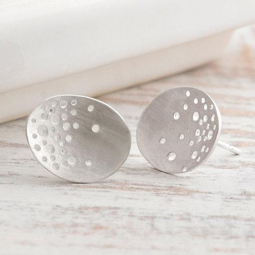 Handmade organic sterling silver earrings, created by artisan jeweller Kate Smith in Birmingham, UK