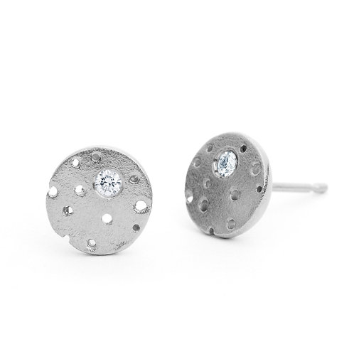 Organic, handmade and unique sterling silver diamond earrings by Kate Smith Jewellery, Jewellery Quarter, Birmingham.