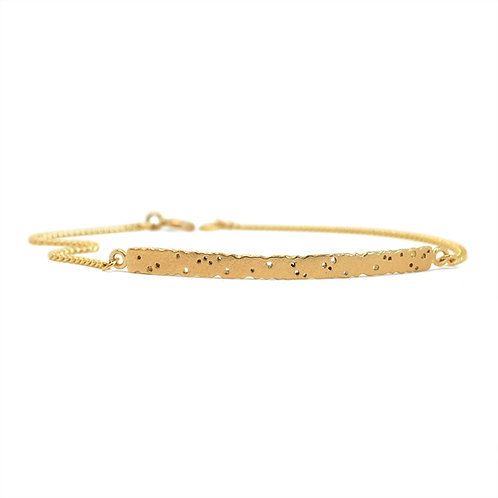 9ct yellow gold bar bracelet, with patterning, designed and made by Kate Smith Jewellery.