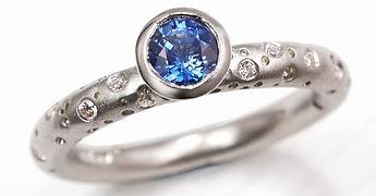 Blue sapphire solitaire diamond engageme