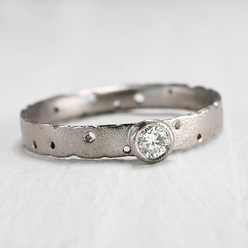 organic, artisan modern diamond engagement ring in 18ct white gold. handmade in Birmingham by Kate Smith