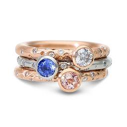 Bespoke ring stack in rose gold, morgani