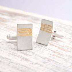 rectangular silver cufflinks