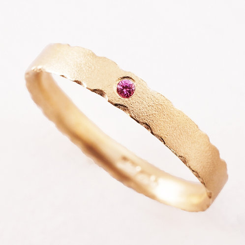 handmade organic gold engagement ring with pink diamond. Created by Kate Smith Jewellery, Birmingham, UK