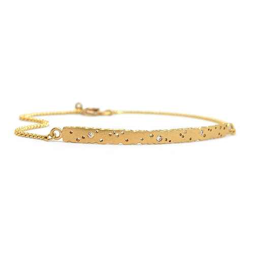 Diamond yellow gold bar bracelet with patterning. Made in our Jewellery Quarter workshop.
