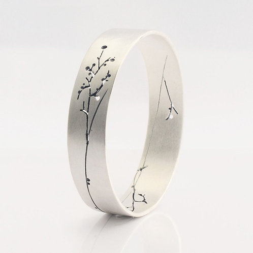 Isis Floral Silver Bangle by Kate Smith Jewellery.