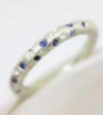 diamond eternity ring set in silver & 18ct yellow gold with fine drilled detail by Kate Smith Jewellery. Code P10