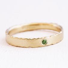 Green diamond and yellow gold engagemem