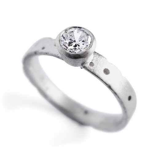 Unique contemporary 18ct white gold diamond engagement ring. 33pt brilliant cut diamond. Handmade in Birmingham by Kate Smith