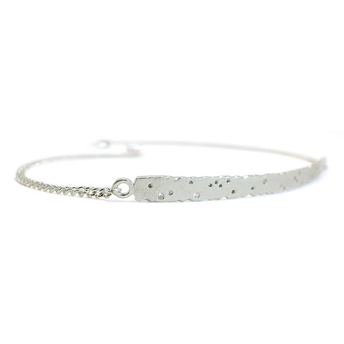 Patterned silver bar bracelet, handmade by Kate Smith Jewellery.