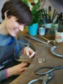 Birmingham Jeweller Kate Smith at her wo