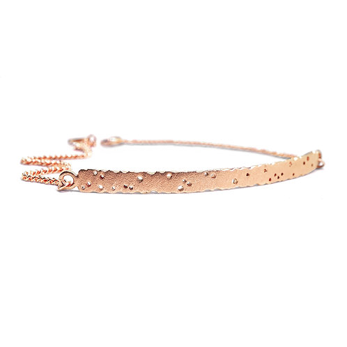 9ct rose gold bracelet, patterned design, organic inspired jewellery.