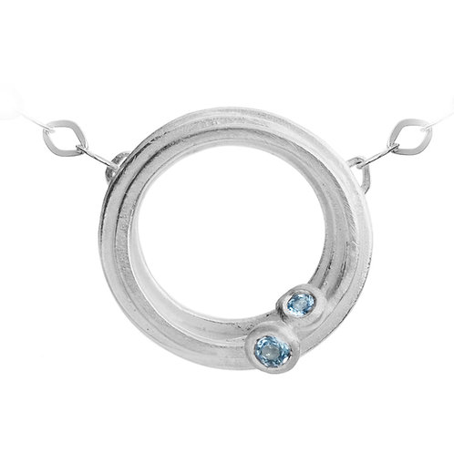 Unusual, modern and contemporary aquamarine silver necklace by Kate Smith Jewellery Design, Birmingham.