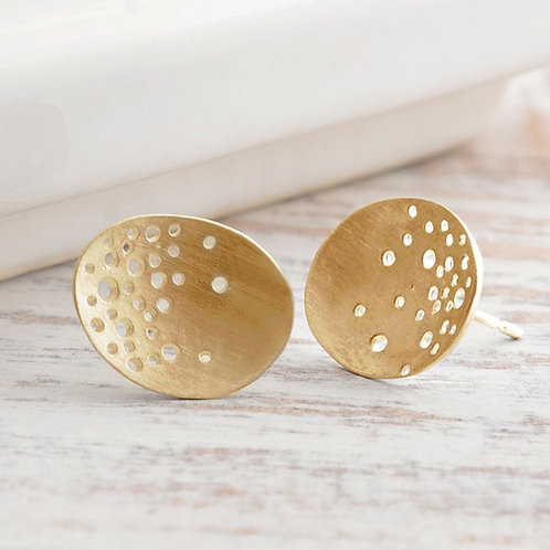 Modern, unique and unusal 9ct yellow gold earrings. Handcrafted by Kate Smith Jewellery, Birmingham.