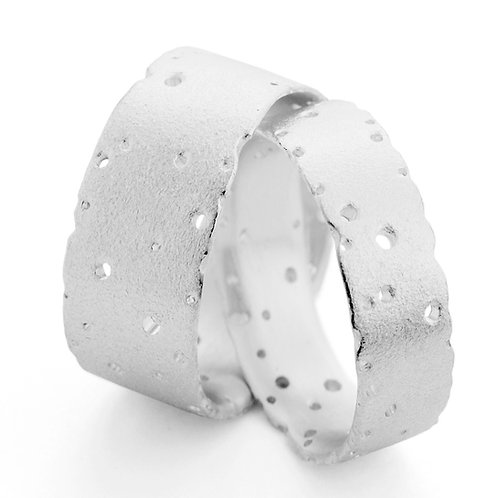 Contemporary organic sillver nibbled wedding, everyday wear rings handmade by Kate Smith Jewellery, Birmingham, UK