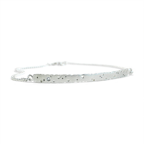Stirling silver bar bracelet with diamond by Kate Smith Jewellery.
