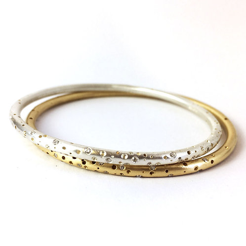 Gold & Silver Halo Scattered Diamond Bangle Set by Kate Smith Jewellery.