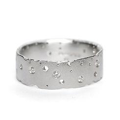 Silver & Diamond Nibbled Ring - Kate Smi