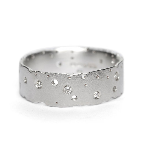 Handmade organic silver & diamond eternity, engagment or wedding ring by Kate Smith Jewellery.