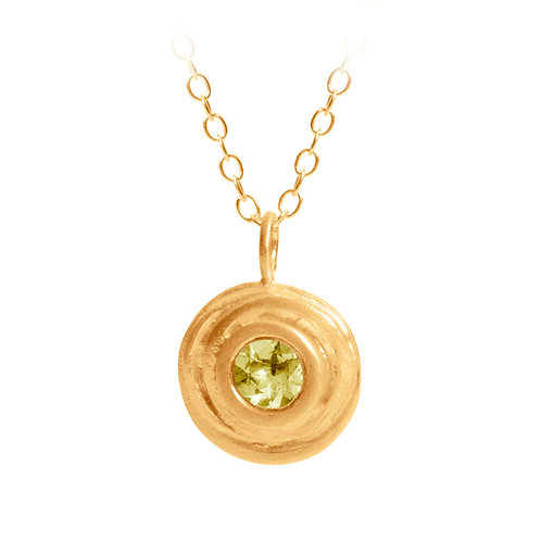 Peridot pendant, handmade, gold plated sterling silver by contemporary jewellery designer Kate Smith. Birmingham, UK