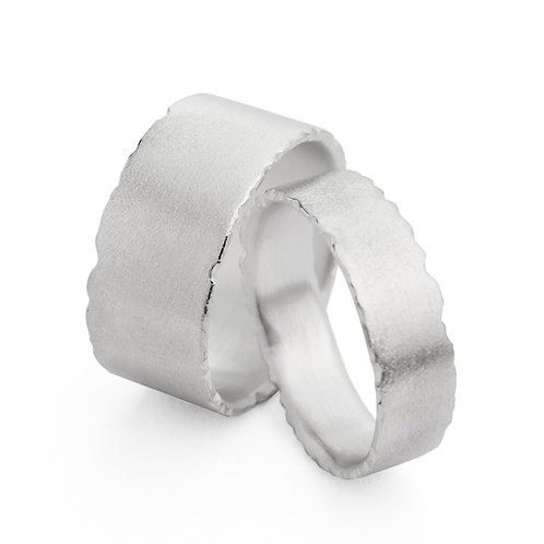Modern organic handmade silver unisex wedding rings by Birmingham jewellery desinger Kate Smith