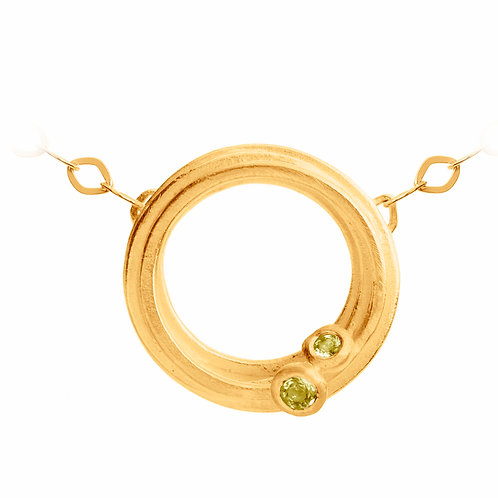 Peridot gold plated necklace by contemporary jewellery designer Kate Smith, Jewellery Quarter, Birmingham