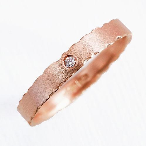 handmade, unique, bespoke organic rose gold diamond engagement ring by Kate Smith, Birmingham