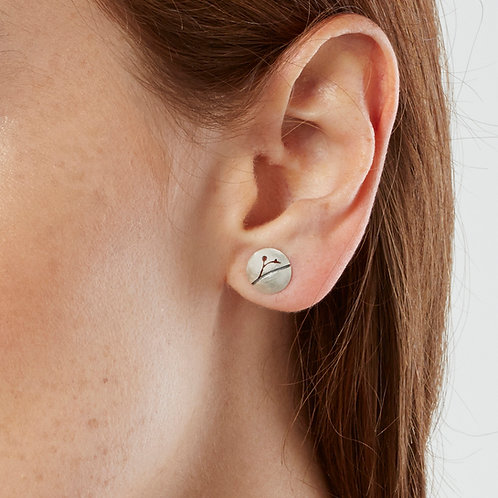 Handmade round organic sterling silver earrings with floral patterning. Handmade in Birmingham's historic Jewellery Quarter.