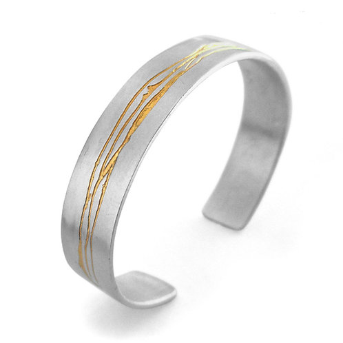 Etched Silver & Gold Cuff by Kate Smith Jewellery. Handmade and hallmarked in the historic Jewellery Quarter