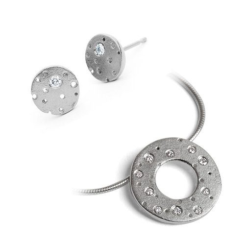 Unusual diamond pendant and earring set, handmade by Kate Smith Jewellery in Birmingham, England