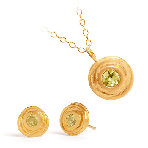 Contemporary peridot gold necklace and earring set. Handmade by Kate Smith Jewellery Design, Birmingham, UK